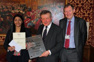 L-R Aditi Rangan, Lord Lexdon and Mr Alex Taylor, Headmaster at Red House School