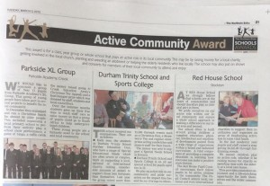 Northern Echo School Awards Active in the Community