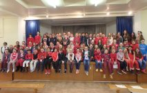 Group photograph of the Prep & Senior School Children wearing red for comic relief 2015