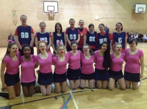 Group photo of the Staff V Pupil Netball match