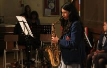 pupil playing the saxophone at the Spring concert