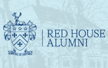 A sketch of the original Red House School building with the Red House School Alumni logo on top of the drawing