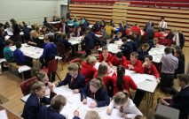 Local primary school children gather together in the Red House School Hall to take part in the Primary Maths Challenge