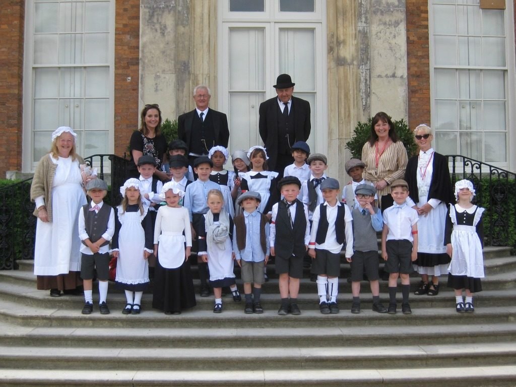 group of pupils outside the steps of Beningbrough Hall