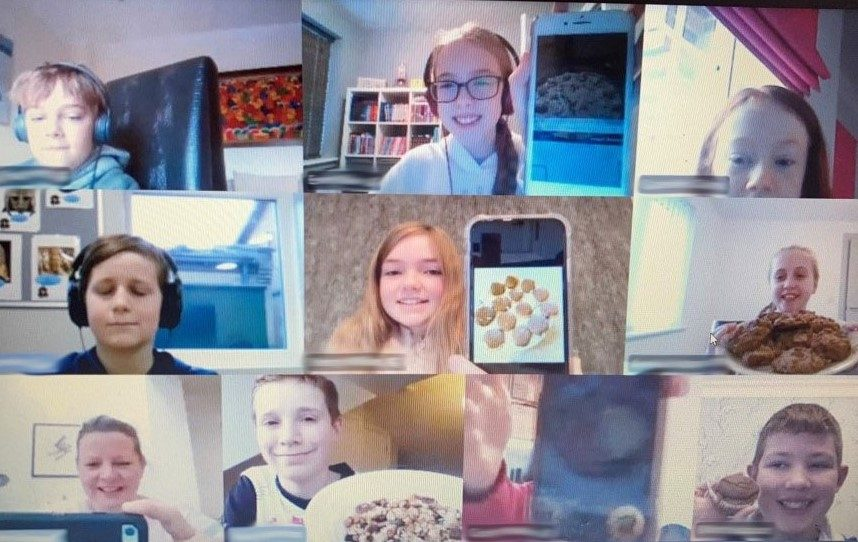 Red House School Children show the food that they have made via a video call on Teams